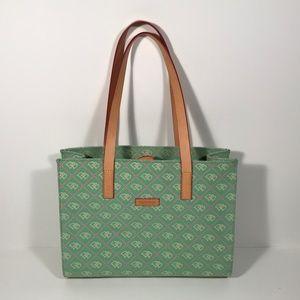 Dooney & Bourke Green Canvas Logo Shoulder Bag